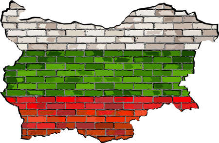 bulgarian: Bulgaria map on a brick wall,  Bulgaria map with flag inside,  Grunge map and Bulgarian flags on a brick wall,  Bulgaria flag in brick style