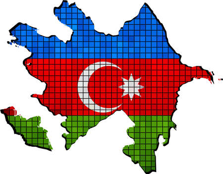 azerbaijanian: Azerbaijan map with flag inside, Azerbaijan map grunge mosaic, Azerbaijanian flag in mosaic,  Grunge Azerbaijani flags with map,   Abstract grunge mosaic vector