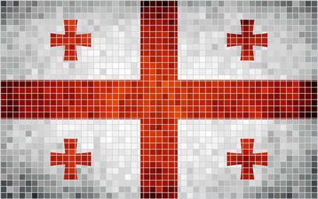 georgian: Abstract mosaic flag of Georgia,  Georgian historical national flag,  Abstract grunge mosaic vector. Illustration