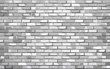白レンガの壁、レトロな白いレンガの壁のベクトル、シームレスな現実的な白いレンガの壁、レンガの壁の背景