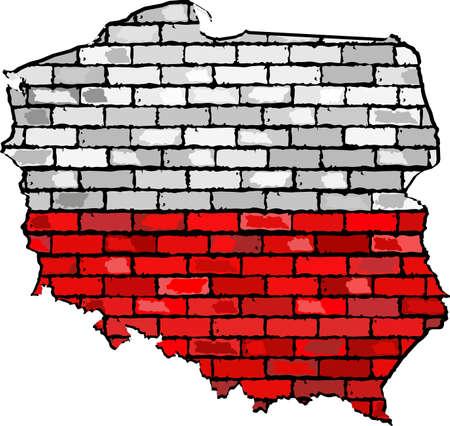 polish flag: Poland map on a brick wall, Grunge map and flag of Poland on a brick wall,  Map of the Poland with flag inside,  Poland map painted on brick wall,  Abstract grunge Polish flag in brick style Illustration
