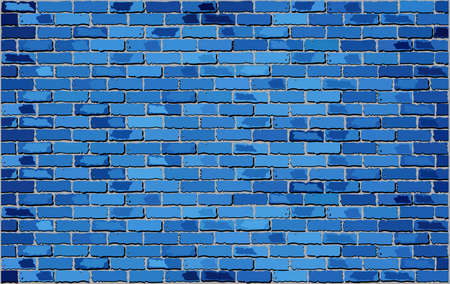 Blue Brick Wall,  Retro blue brick wall Vector,  Seamless realistic blue brick wall,  Brick wall background,  Abstract vector illustration