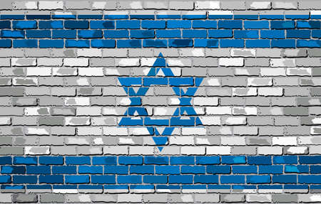 jews: Grunge flag of Israel on a brick wall, The Israeli Flag, Israel flag on brick textured background,  Flag of Israel painted on brick wall, Flag of Israel in brick style,  Abstract grunge Israel flag Illustration