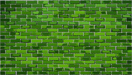 paredes de ladrillos: Muro de ladrillo verde, pared de ladrillo Vector retro verde, sin fisuras realista pared de ladrillo verde, ladrillo la pared de fondo, ilustración abstracta del vector