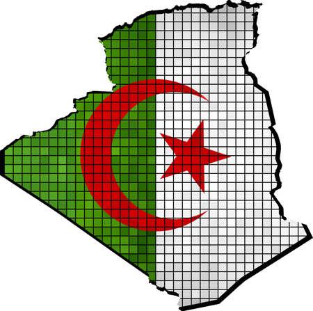 algerian flag: Algeria map with flag inside, Algeria map grunge mosaic, Algerian flag in mosaic,  Abstract grunge mosaic vector