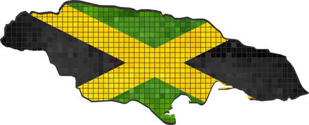 jamaican flag: Jamaica map with flag inside, Jamaica map grunge mosaic, Jamaican flag in mosaic,  Abstract grunge mosaic vector
