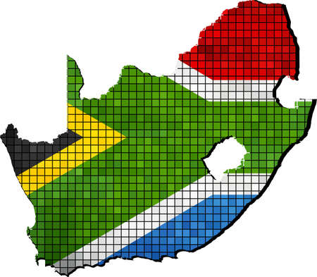 south african flag: South Africa map with flag inside, South Africa map grunge mosaic, South African flag in mosaic,  Abstract grunge mosaic vector