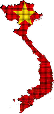 viet nam: Vietnam map with flag inside Illustration