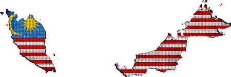 Maleisië kaart met vlag binnen Stockfoto - 49811061