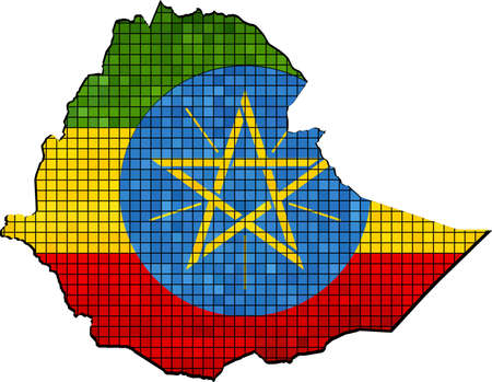 ethiopia abstract: Ethiopia map with flag inside