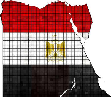 bandera de egipto: Egipto mapa con bandera dentro de