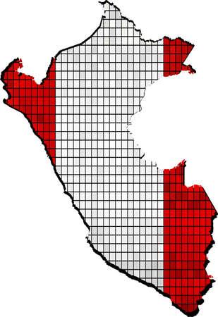 borderline: Peru map with flag inside, Peru map grunge mosaic, Map of Peru in mosaic