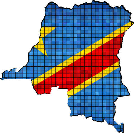 democratic: Democratic Republic of the Congo map with flag inside Illustration