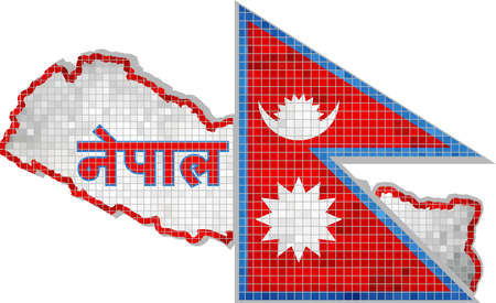 Nepal map with flag inside, Nepal map grunge mosaic, The National flag  map of Nepal,  Abstract grunge mosaic vector Иллюстрация