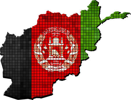 afghan: Afghanistan map with flag inside, Afghanistan map grunge mosaic, Afghan flag in mosaic,  Abstract grunge mosaic vector