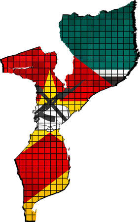 mozambique: Mozambique map with flag inside, The Mozambican map grunge mosaic, Map  flag of Mozambique in mosaic,  Abstract grunge mosaic vector Illustration