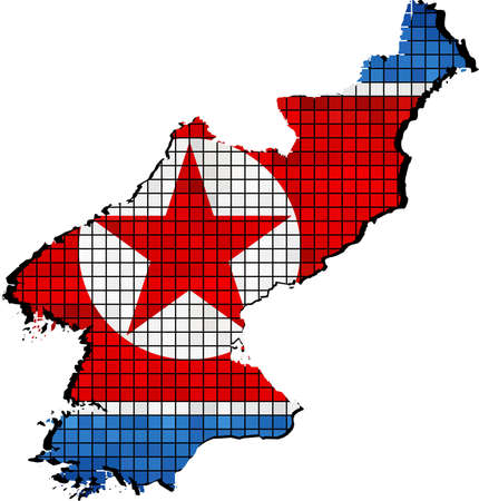 borderline: North Korea map with flag inside, North Korean map grunge mosaic, Map of North Korea in mosaic,  Abstract grunge mosaic vector
