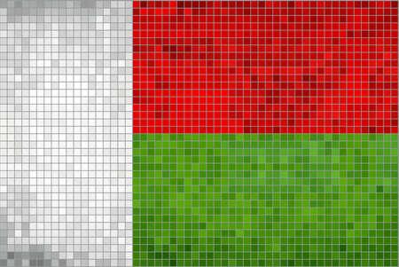 madagascar: Flag of Madagascar - Illustration,  Abstract Mosaic The Malagasy Flags,  Grunge mosaic Flag of Madagascar,  Abstract grunge mosaic vector
