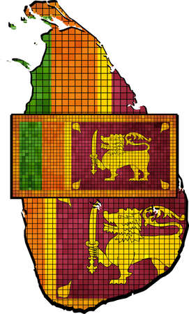 sri lankan flag: Sri Lanka map with flag inside - Illustration, Sri Lanka map grunge mosaic, Map of Sri Lanka in mosaic,  Abstract grunge mosaic vector