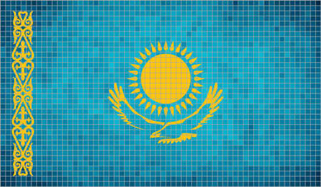 kazakh: Flag of Kazakhstan - Illustration,  Abstract Mosaic Kazakh flags,  Grunge mosaic Flag of Kazakhstan,  Abstract grunge mosaic vector