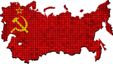 Soviet Union map with flag inside - Illustration,  Map of USSR - SSSR national flag,  The national flag  map of USSR,  Abstract Mosaic Grunge Soviet Union Flag