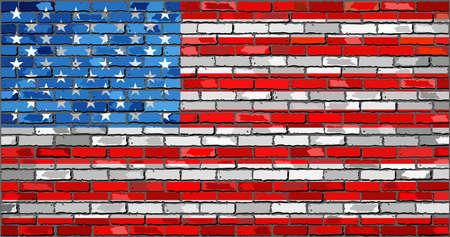 Vlag van de VS - Illustratie, Vlag van de Verenigde Staten van Amerika op een bakstenen muur, vlag van de VS op bakstenen geweven achtergrond, Vlag van de Verenigde Staten geschilderd op bakstenen muur, vlag van de Verenigde Staten van Amerika in baksteen stijl Stockfoto - 51274781