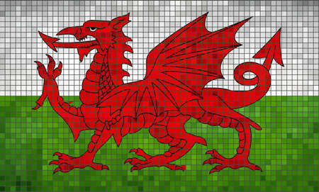 Flag of Wales - Illustration,  Red dragon on the white and green flag,  Baner Cymru or Y Ddraig Goch,  Abstract Mosaic Welsh flag,  Grunge mosaic Flag of Wales,  Abstract grunge mosaic vector