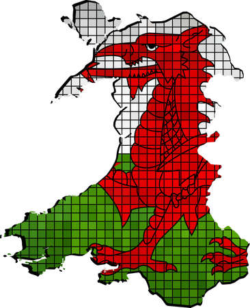 welsh: Wales map with flag inside - Illustration,  Red dragon on the white and green flag,  Welsh map grunge mosaic, The National flag  map of Wales,  Abstract grunge mosaic vector Illustration