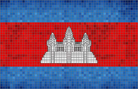 cambodian flag: Flag of Cambodia - Illustration,  Abstract Mosaic Cambodian Flag,  Grunge mosaic Flag of Cambodia,  Abstract grunge mosaic vector