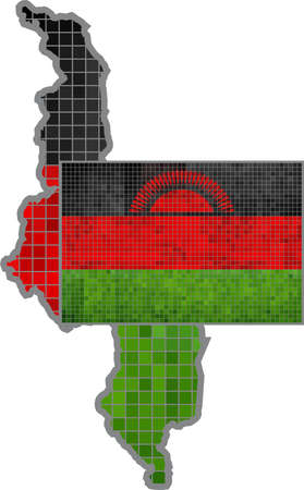 malawian: Malawi map with flag inside - Illustration, Malawian map grunge mosaic, The National flag  map of Malawi,  Abstract grunge mosaic vector