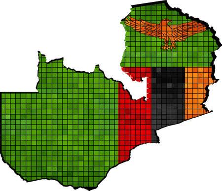 zambian flag: Zambia map with flag inside - Illustration, Zambian map grunge mosaic, The National flag  map of Zambia,  Abstract grunge mosaic Illustration