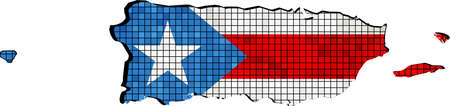 puerto rican: Puerto Rico map with flag inside - Illustration, Puerto Rican map grunge mosaic, Puerto Rican flag  map of Puerto Rico,  Abstract grunge mosaic Illustration