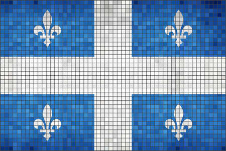 Flag of Quebec - Illustration,  Quebec Canada flag,  Canadian province flag,  Abstract Mosaic Quebec Flag,  Grunge mosaic flag of Quebec province,  Abstract grunge mosaic