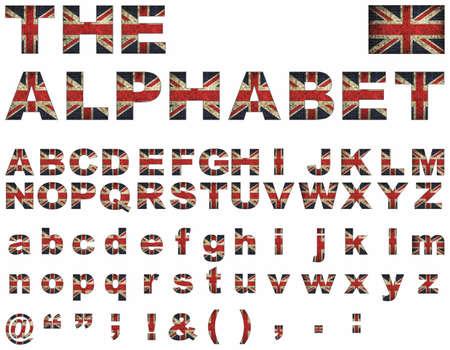 grunge union jack: British flag font - Illustration,   Stylized alphabet with flag of United Kingdom,  Union Jack Upper Case Font,   Flag Of English Alphabet, Font with the Great Britan flag,  Stylized alphabet,  Great Britain alphabet letters set
