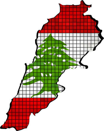 lebanese: Lebanon map with flag inside - Illustration, Lebanese map grunge mosaic, The National flag  map of Lebanon,  Abstract grunge mosaic Illustration