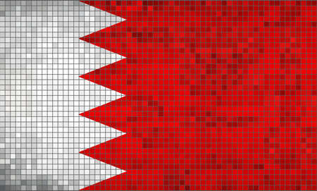bahrain: Flag of Bahrain - Illustration,  Abstract Mosaic Bahrain flag,  Grunge mosaic Flag of Bahrain,  Abstract grunge mosaic