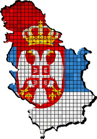 borderline: Serbia map with flag inside - Illustration,  The national flag & map of Serbia,  Serbian flag with coat of arms,   Abstract grunge mosaic
