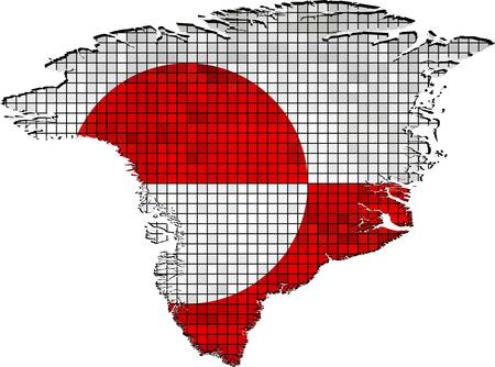 borderline: Greenland map with flag inside - Illustration,  Greenland map grunge mosaic, Autonomous country flag & map of Greenland,  Abstract grunge mosaic