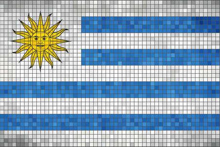 bandera de uruguay: Bandera de Uruguay - Ilustración, bandera de la bandera uruguaya en mosaico, abstracto del grunge de la bandera de Uruguay, grunge abstracto del mosaico