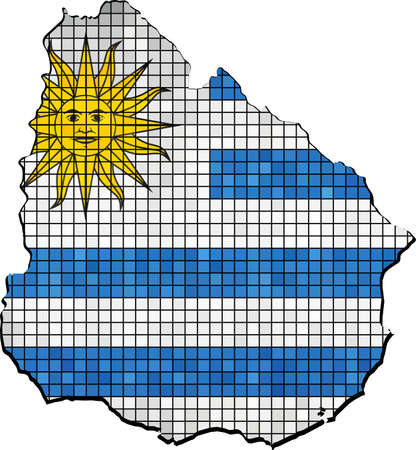 uruguay: Uruguay map with flag inside - Illustration, Uruguay map grunge mosaic, Uruguayan flag & map of Uruguay,  Abstract grunge mosaic vetor