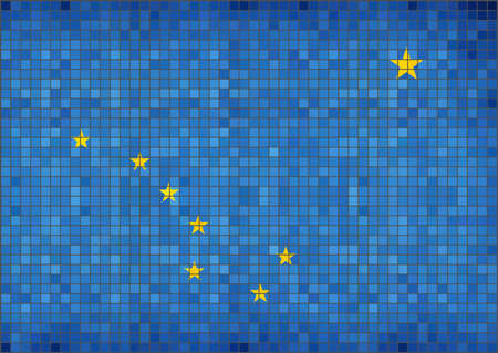 Flag of Alaska - Illustration,  Alaska State Flag created in grunge style,  Alaska's Flag,  Alaska flag in mosaic, Abstract grunge mosaic