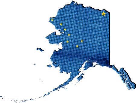 alaska map: Alaska map with flag inside - Illustration, Alaska map grunge mosaic, Alaskan flag & map of Alaska,  Abstract grunge mosaic Illustration