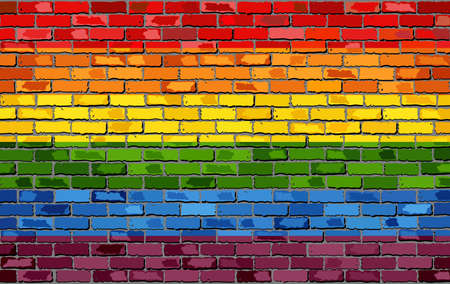la union hace la fuerza: Gay pride flag on a brick wall - Illustration,   Rainbow flag on brick textured background,  Flag of gay pride movement painted on brick wall, Gay and transgender comminity in brick style Vectores