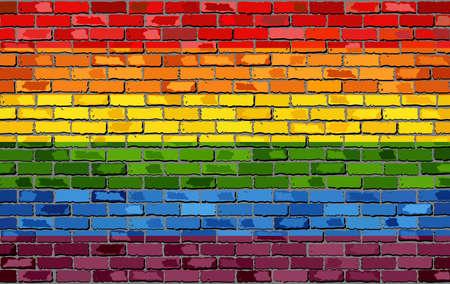 Gejowską flagę na ścianie z cegły - Ilustracja, Tęczowa flaga na ceglany tekstury tła, Flaga gejowskiej dumy ruchu namalowany na ścianie z cegły, gejów i transseksualistów comminity w stylu cegły Ilustracje wektorowe