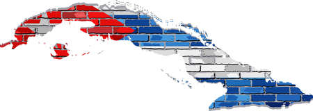 borderline: Cuba map on a brick wall - Illustration,   Cuba map with flag inside,  Cuba map painted on brick wall,  Grunge map and flag of Cuba on a brick wall,  Cuban flags in brick style