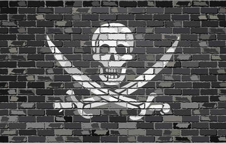 jolly roger: Pirate flag on a brick wall - Illustration,  Jolly Roger pirate flag on brick textured background,  Buccaneer flag painted on brick wall, Hong Kong flag in brick style
