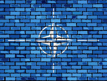 pacto: Bandera de la OTAN en una pared de ladrillo - Ilustraci�n, la OTAN bandera en ladrillo con textura de fondo, la bandera de la Organizaci�n del Tratado del Atl�ntico Norte pintado en la pared de ladrillo, la bandera de la OTAN en el estilo de ladrillo, grunge abstracto bandera de la OTAN Vectores