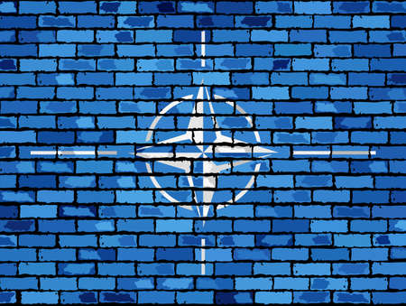 treaty: Flag of NATO on a brick wall - Illustration, NATO flag on brick textured background,  Flag of of the North Atlantic Treaty Organization painted on brick wall, Flag of NATO in brick style,  Abstract grunge NATO flag