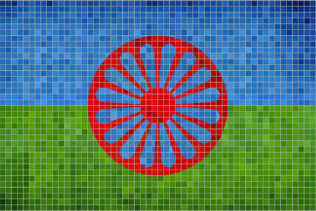 gypsy: Flag of the Romani people - Illustration,  Abstract Mosaic of Gypsy flag,  Grunge mosaic The Romani flag,  Abstract grunge mosaic Illustration