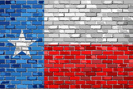 Bandiera del Texas su un muro di mattoni - Illustrazione, La bandiera dello stato del Texas su mattone con texture di sfondo, Texas bandiera dipinta sul muro di mattoni, la bandiera del Texas in stile mattone